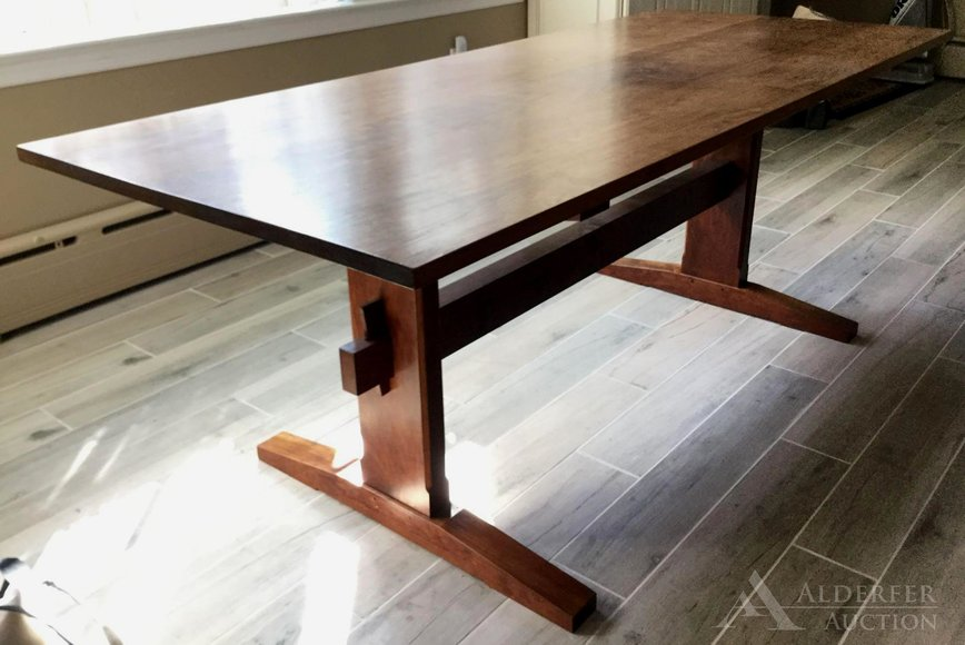 Alderfer Online - Yardley, PA: 10-14-19 | Features Fine Furniture, Art & Home Furnishings Including Howard Szmolko Trestle Dining Table, Outdoor Street Clock, Figural Fountain, Queen Anne Sideboard, Oil Paintings, Persian Rugs & More