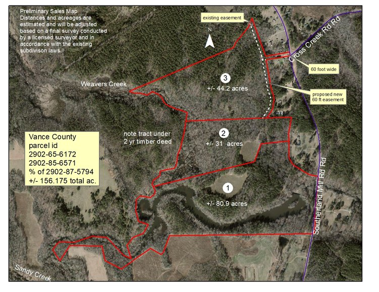 Bankruptcy Auction of 156+/- Acres In Vance County, NC Which Includes The Famous Southerlands Pond