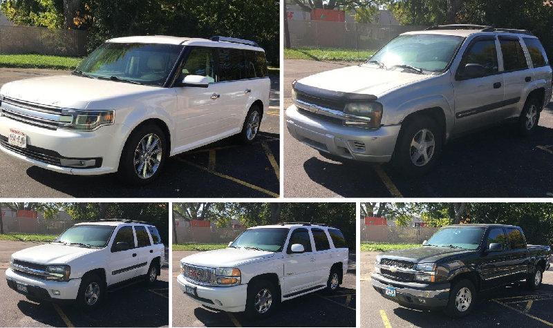 2013 Ford Flex, (2) Silverado Pickups, (2) Chevrolet Trail Blazers & GMC Yukon Denali