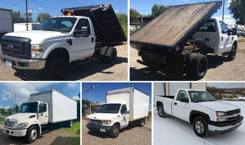 2003 Chevrolet Silverado, 2010 Ford F-350, 2010 Hino Box Truck, 2001 Ford E-450