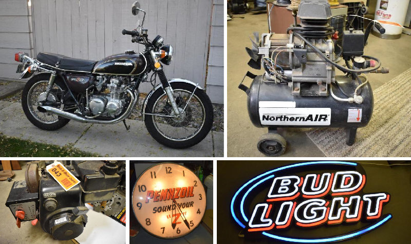 Lifelong Collection of Signs, Shop Tools, Craftsman Tool Boxes, and (2) Motorcycles Phase 3
