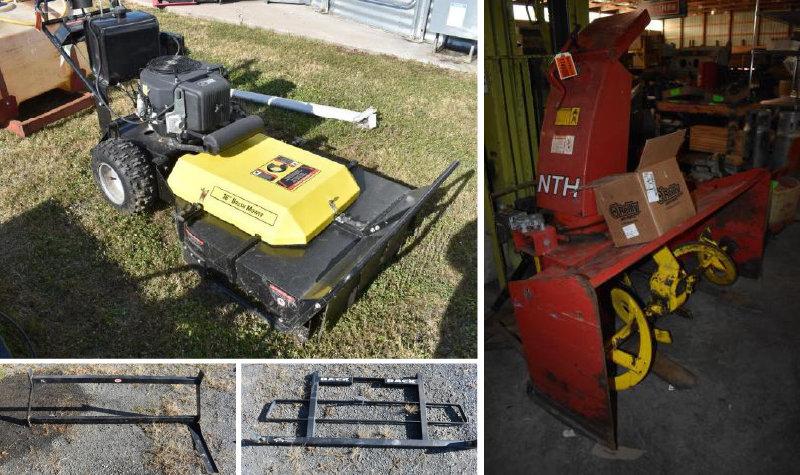 Surplus Snow Plow Equipment, Lawn Maintenance and 4-Place Snowmobile Trailer