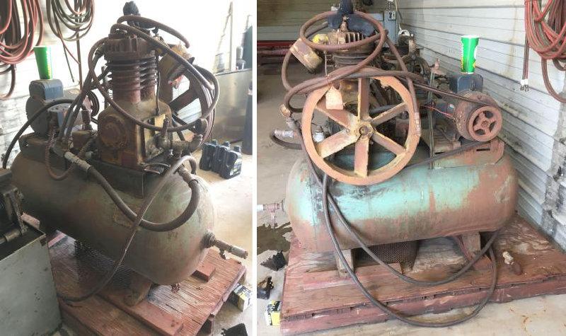 P&H Crane, 2-Ton Gantry Crane, 10' Lathe and Air Compressor