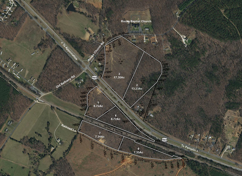 58 Acres on US-460 Offered in 6 Tracts 1 Mile of Road Frontage