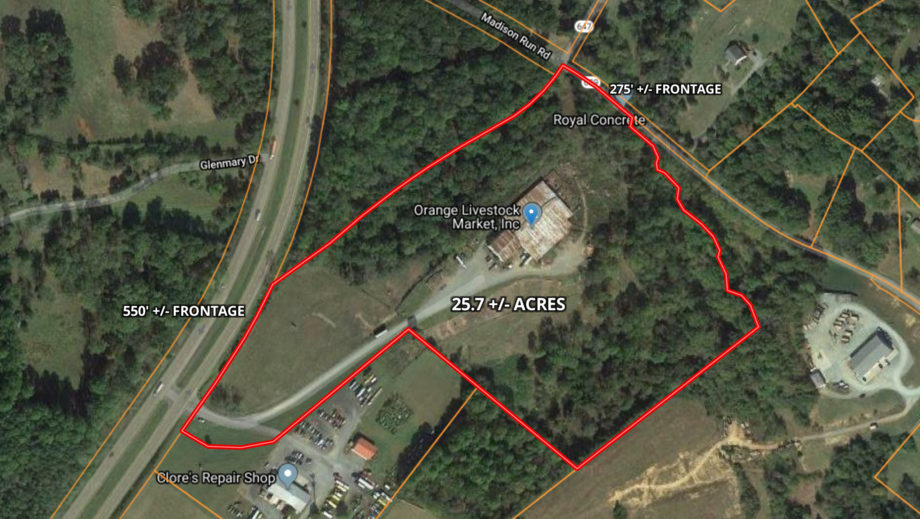 25.7 +/- Acres of Valuable Industrial Real Estate w/550' of Rt. 15 Frontage--Orange County, VA