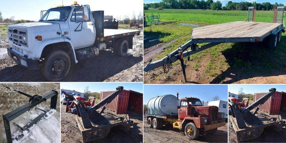 2013 Kubota SVL 90-2 Skid, 2003 IH Car Hauler, 20' Flatbed, Wrecker Body, Water Truck, Attachments
