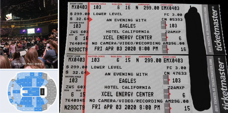 (2) Eagles Concert Tickets For Friday, April 3, 2020 - Lower Level Sec 103 Row 6 - No Reserve