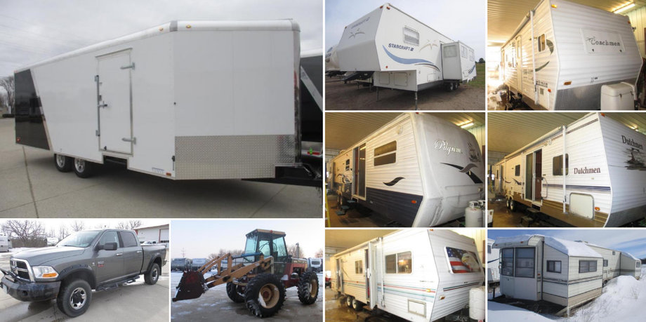 (16) Campers, Trailers, Trucks, and Versatile 276 II Tractor