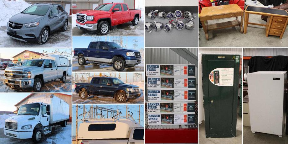 2019 Buick Encore, 2007-2016 Trucks, (2) Cargo Vans, Pallet Racking, and More