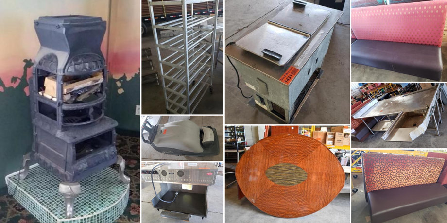 Cast Iron Stove, Surplus Booths, Stainless Steel Shelves, Tables and Equipment - POSTPONED!