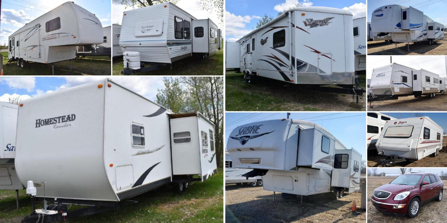 37 Units: (22) Travel Trailers, (11) 5th Wheels, (1) Motorhome and (3) Vehicles