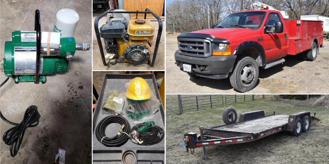 Construction Company Surplus: Ford Service Truck, Trailers, Generators, Pumps, Concrete Saws