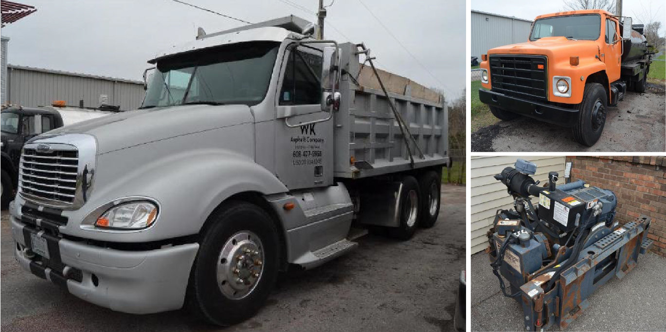 Paving Equipment: LeeBoy 1000F Asphalt Paver, Road Hog Milling Machine, 2006 Freightliner Columbia & 1986 IH S1700 Distributor Truck