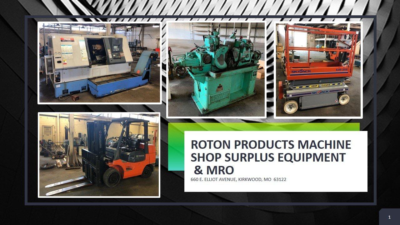 ROTON PRODUCTS MACHINE SHOP SURPLUS EQUIPMENT & MRO