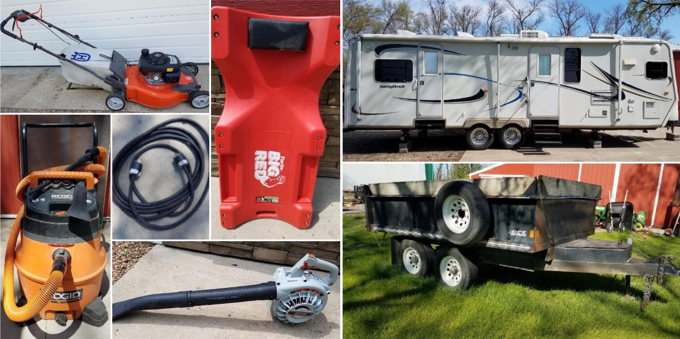 2006 Sunnybrook 30' Camper, 2002 DCT Dump Trailer, Yamaha 110 Dirt Bike, Polaris 600 Indy, & Shop Supplies