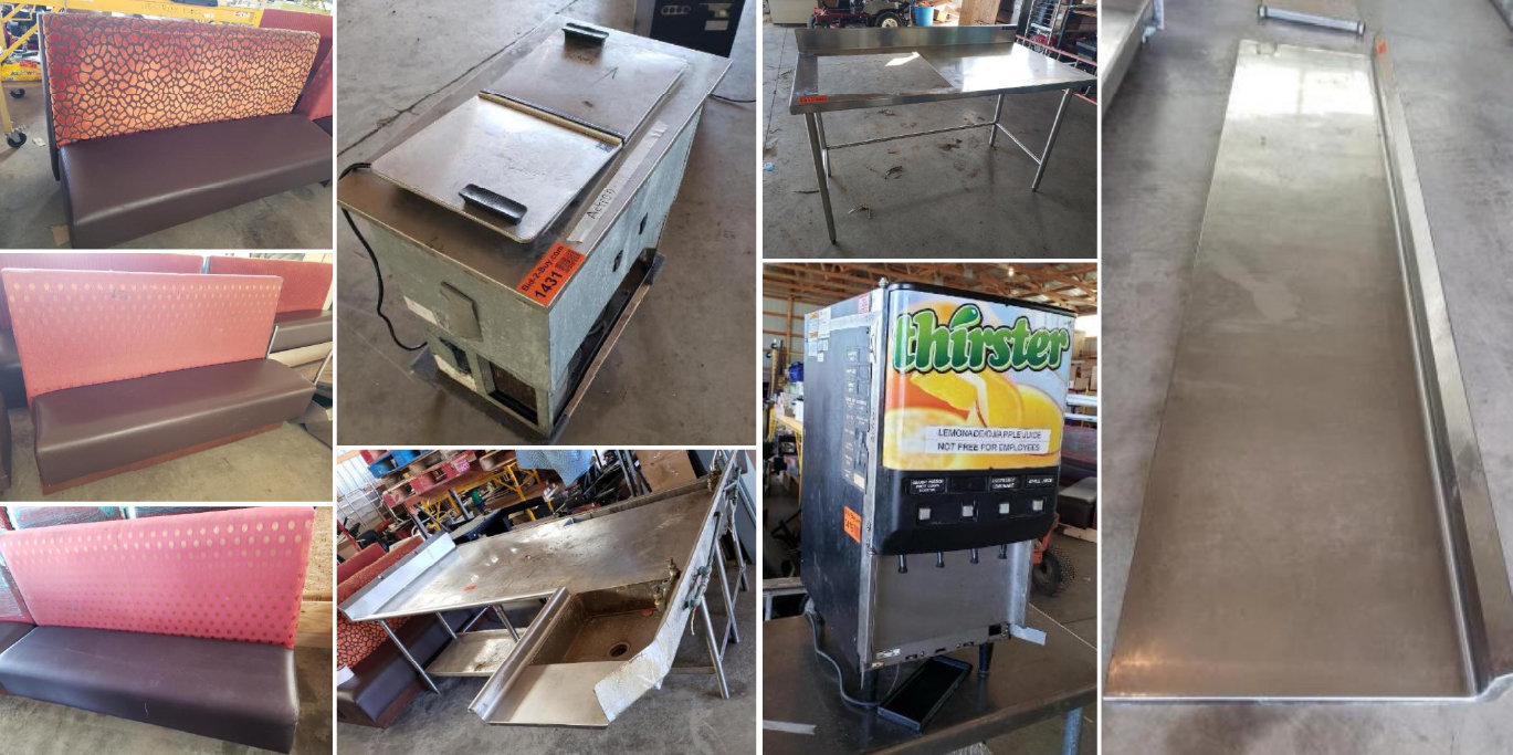 Surplus Booths, Stainless Steel Shelves, Tables and Equipment