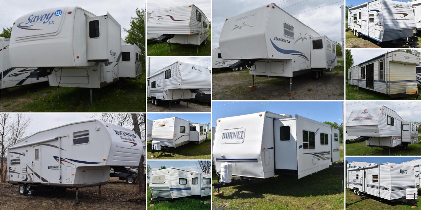 27 Units: (14) Travel Trailer, (7) 5th Wheel Trailers (1) Park Model,  (2) Vehicles
