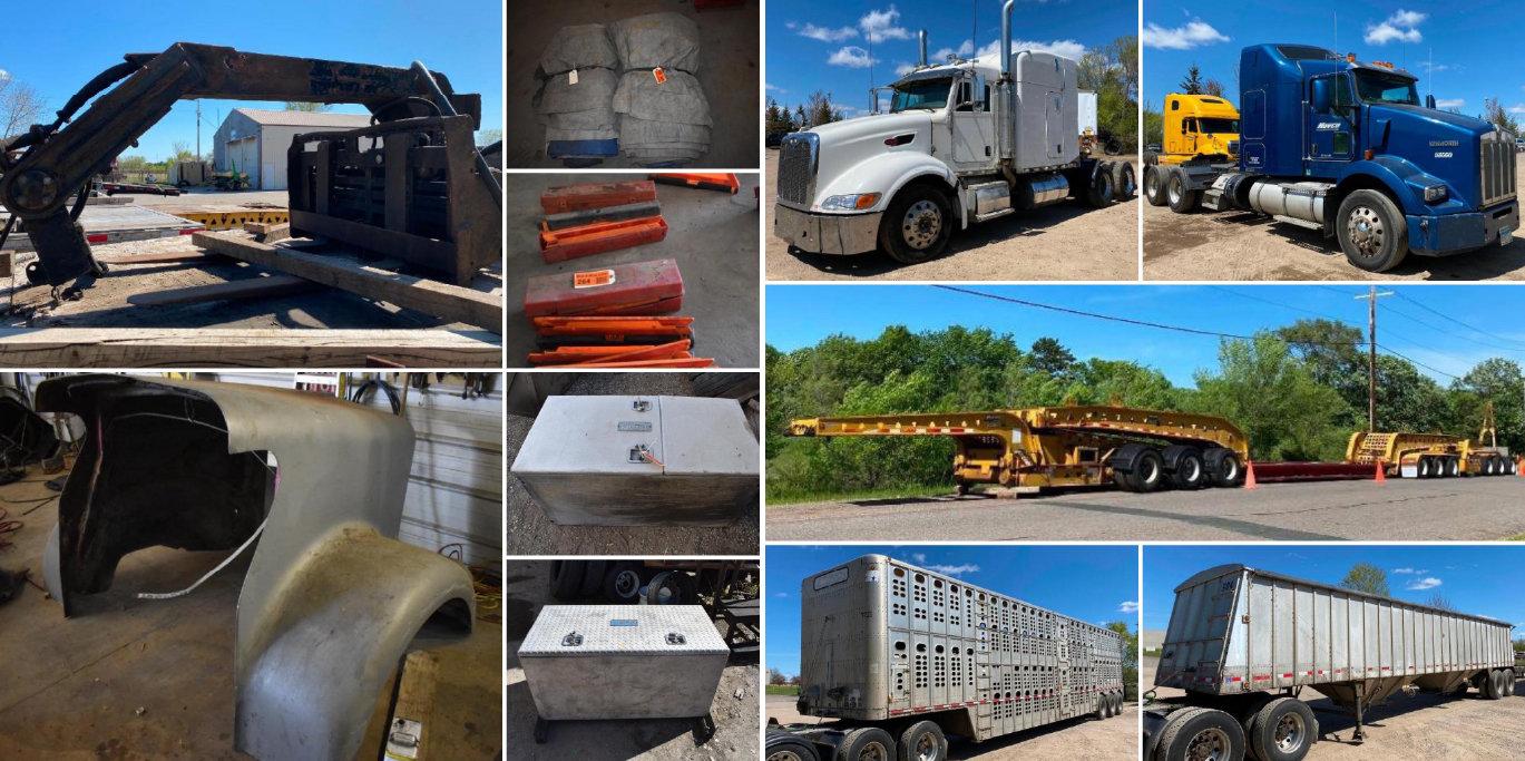 Trail King TK160 Heavy Hauler Trailer, (2) 2008 Peterbilt Semis, (2) Kenworth Semis, Trucking Accessories and Supplies