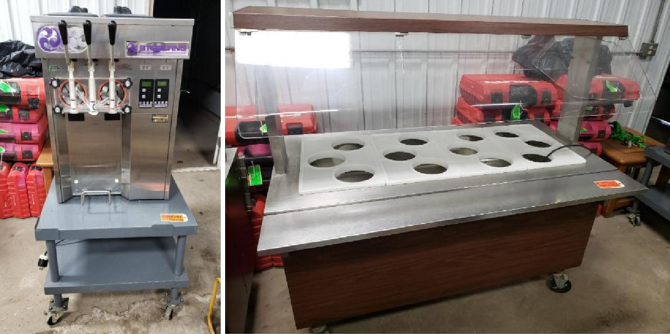 Stoelting Stainless Steel Soft Serve Machine & (2) Vollrath Rolling Buffet Cart