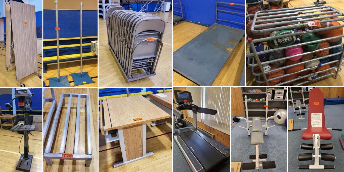 Wadena Deer Creek School Surplus Inventory: Fitness, Desks, Carts & Equipment