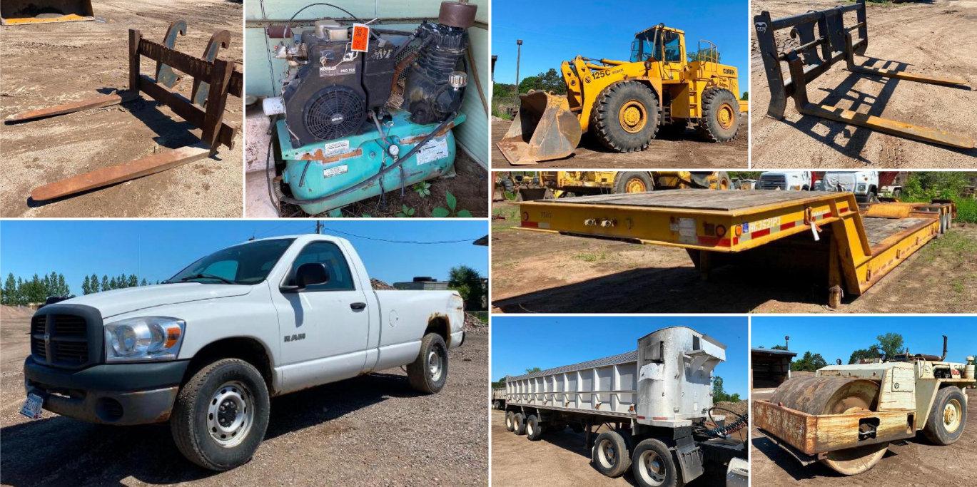 Excavating Surplus Equipment: 52' Step Deck, Trucks, Loader, End Dump, Roller