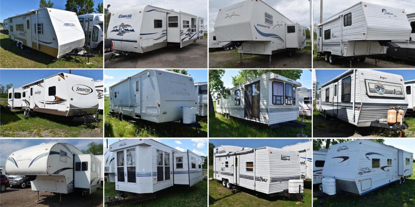 25 Units: (2) Park Models, (1) Toy Hauler, (2) Vehicles, (7) 5th Wheels, & (13) Travel Trailers
