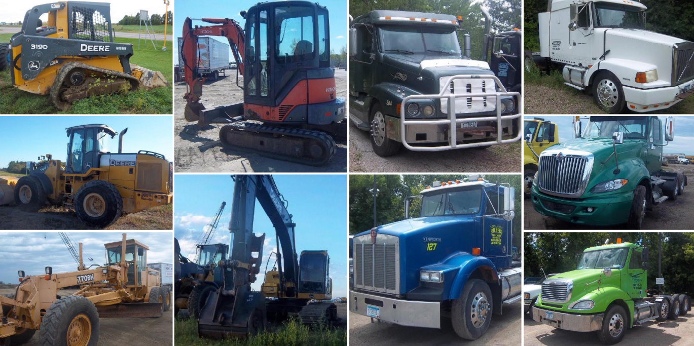 Construction Equipment: Excavators, Payloaders, Semis & Trailers