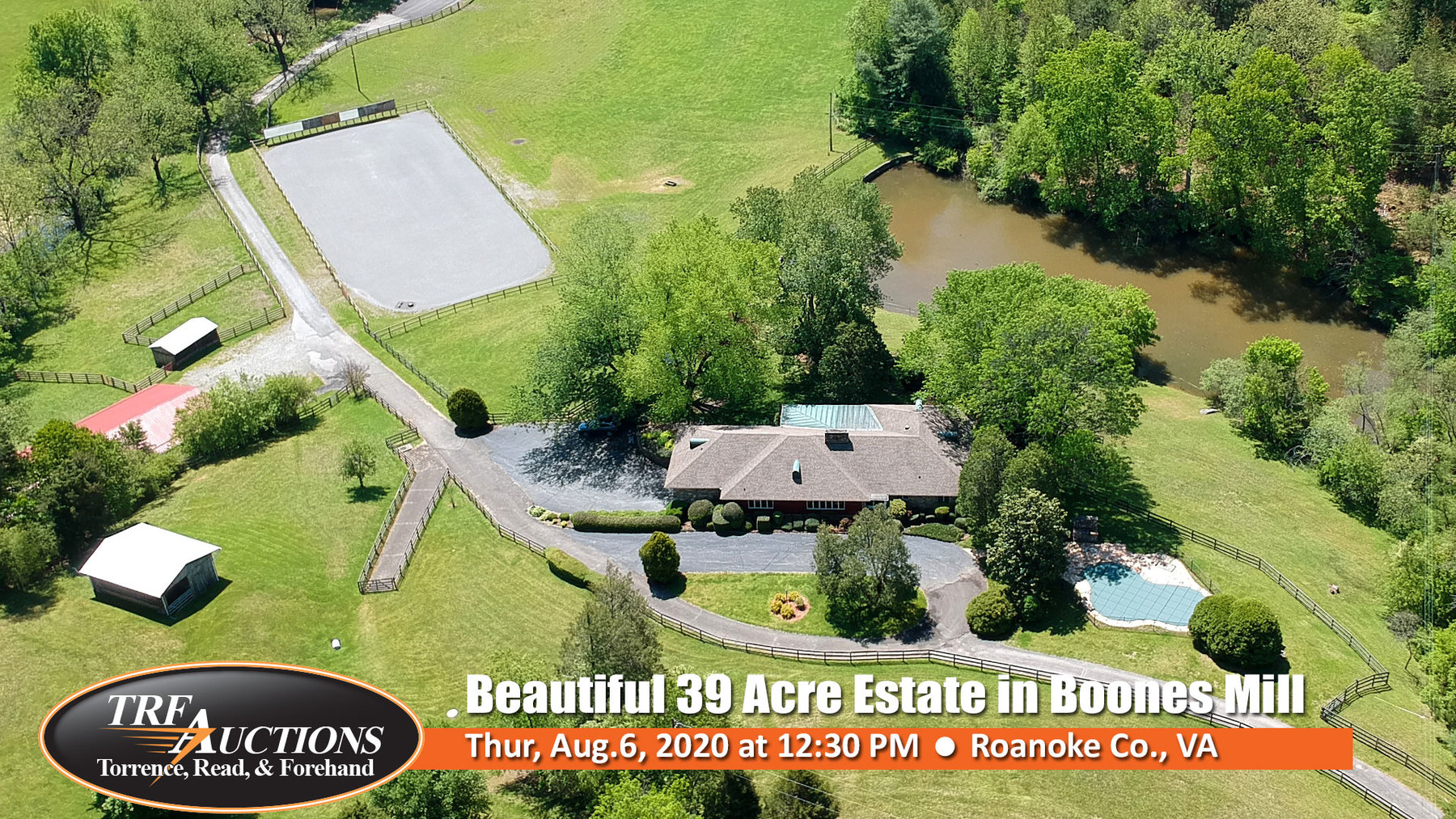 Beautiful 39 Acre Estate with 2Homes, Pond, Stream, Horse Facilities