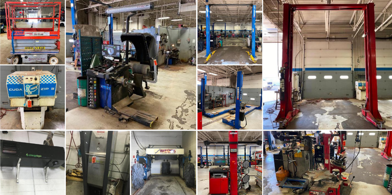 Excess Shop & Parts Room Equipment Due to Store Remodeling: (33) Car Hoists, Mezzanine, & Office Furniture