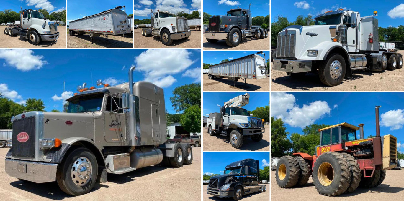 (7) Semis, (8) Grain Trailers, 1981 Versatile 950, 2007 International Bucket Truck