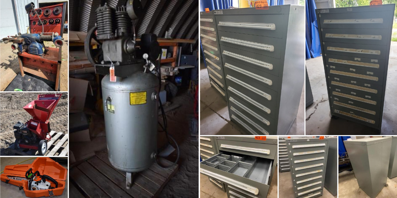 (6) Vidmar Parts Cabinets, Brake Lathe, 60-Gallon Air Compressor, Tools & Shop Supplies