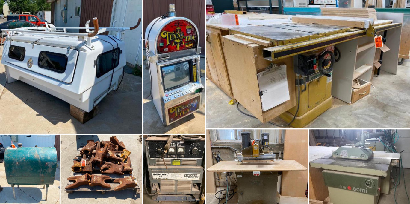Pickup Topper, Texas Tea Slot Machine, Neon Light & Woodworking Equipment