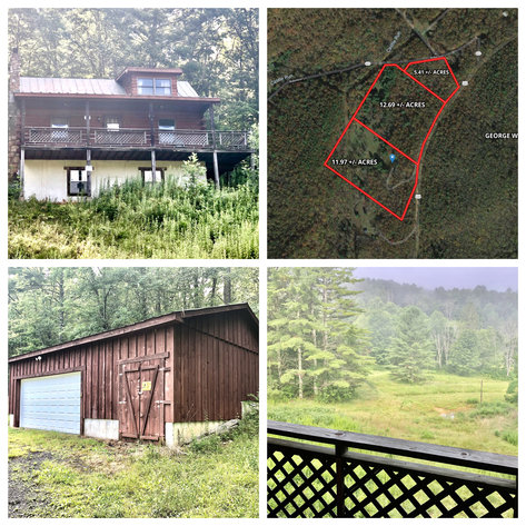 2 BR/1 BA Log Cabin on 30 +/- Acres Bordering National Forest in Bath County, VA