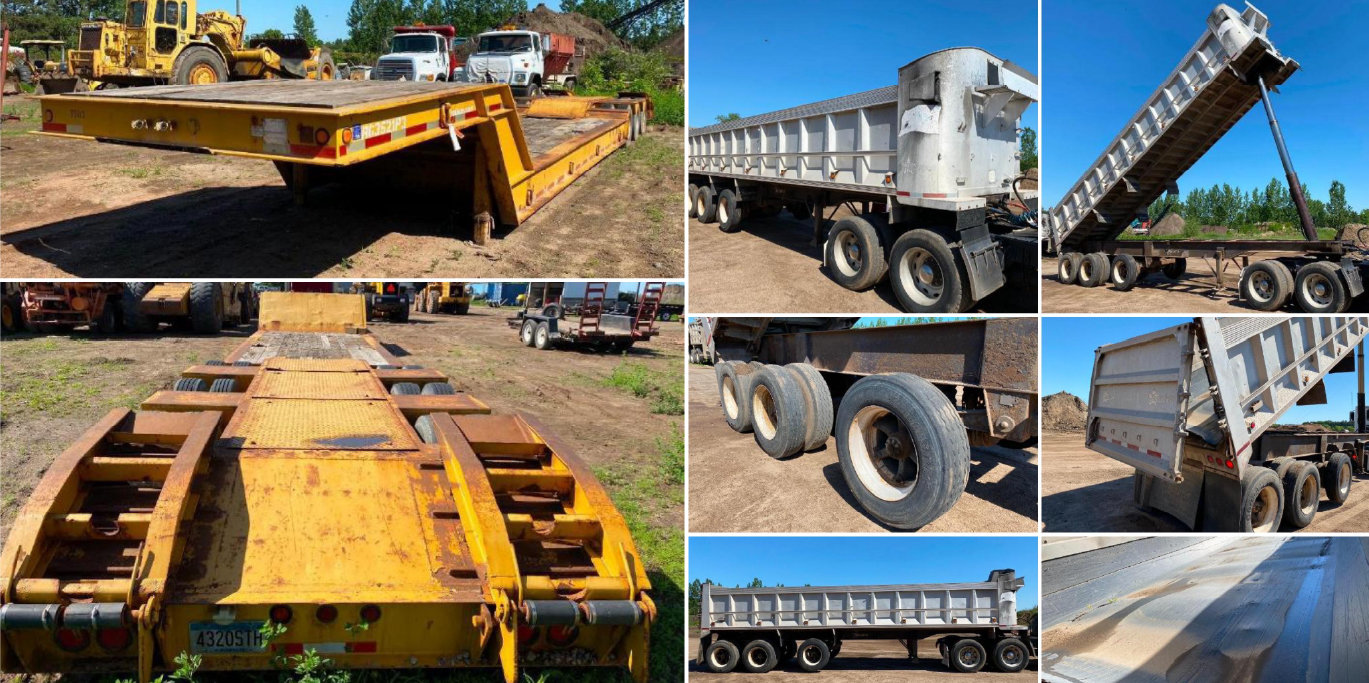Construction Equipment: End Dump, Michigan 125C Loader, 2010 Ford F-250, 52' Step Deck, Ford 9000 Cable Truck