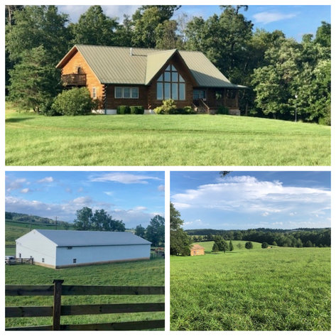 Majestic 3 BR/4.5 BA Log Home on 45 +/- Acres w/5,000 sf. Shop--Augusta County, VA