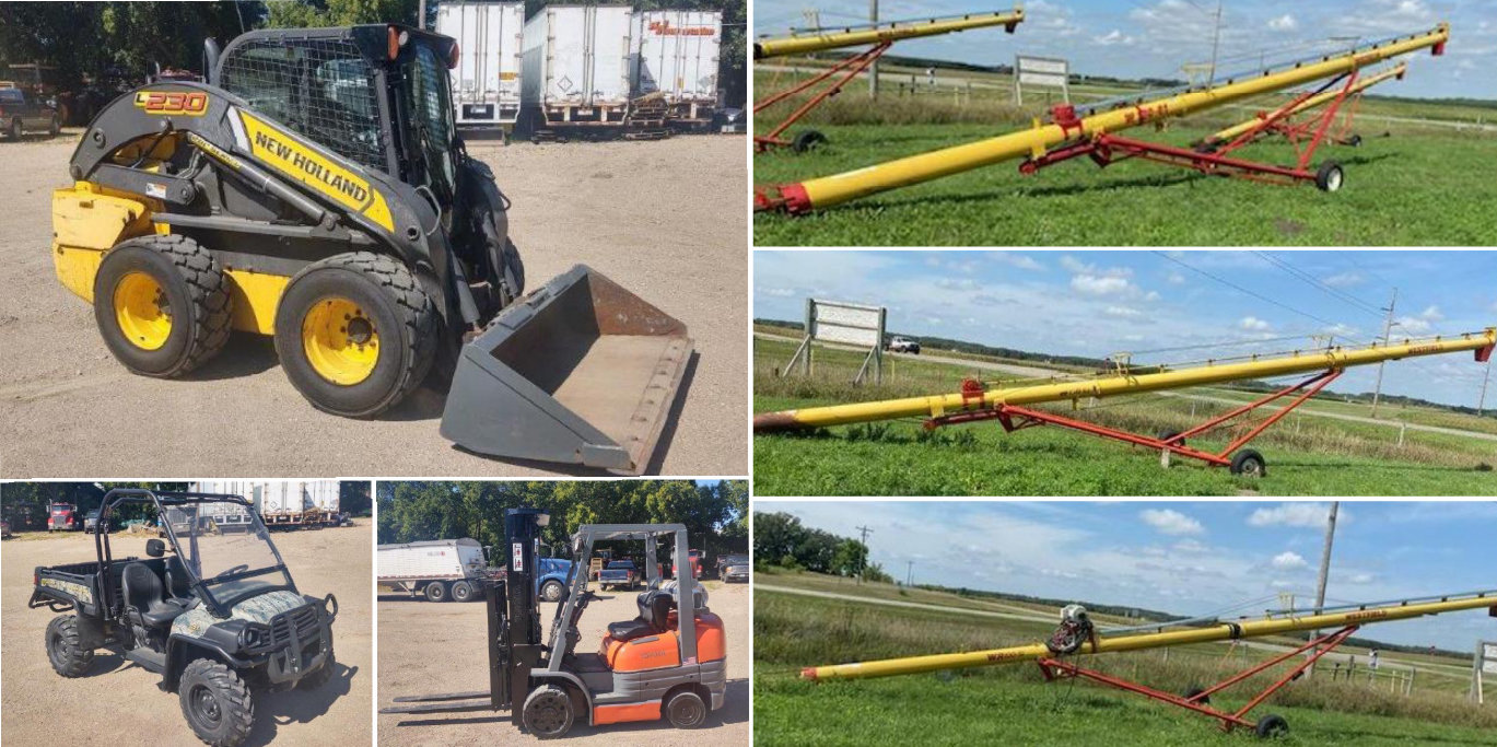 2015 New Holland 230 Skid Steer, 2013 John Deere 825i, Toyota Forklift, (3) Westfield Augers