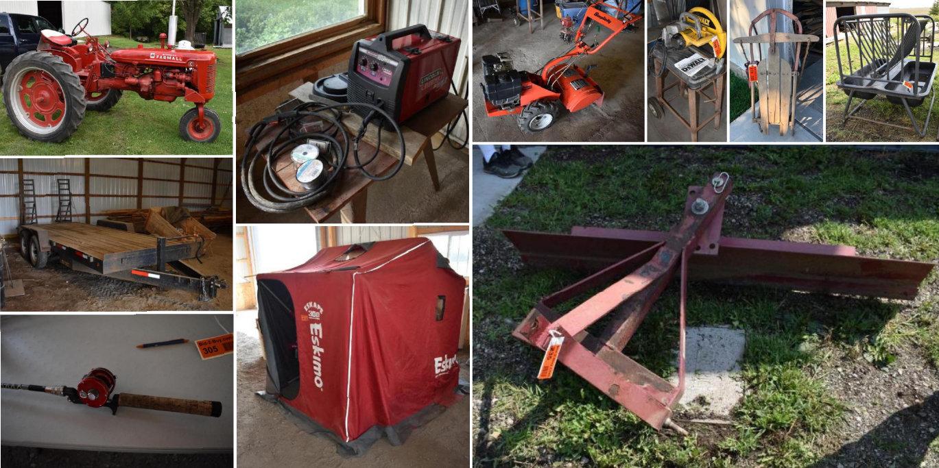 2010 Utility Trailer, Ambassadeur 5000A Reel, Farmall C Tractor, Farm Machinery, Shop Equipment