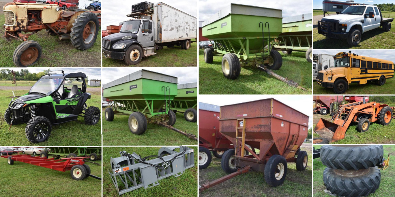 Farm Machinery, (12) Gravity Boxes, Attachments, 2015 Arctic Cat Side By Side, Vehicles