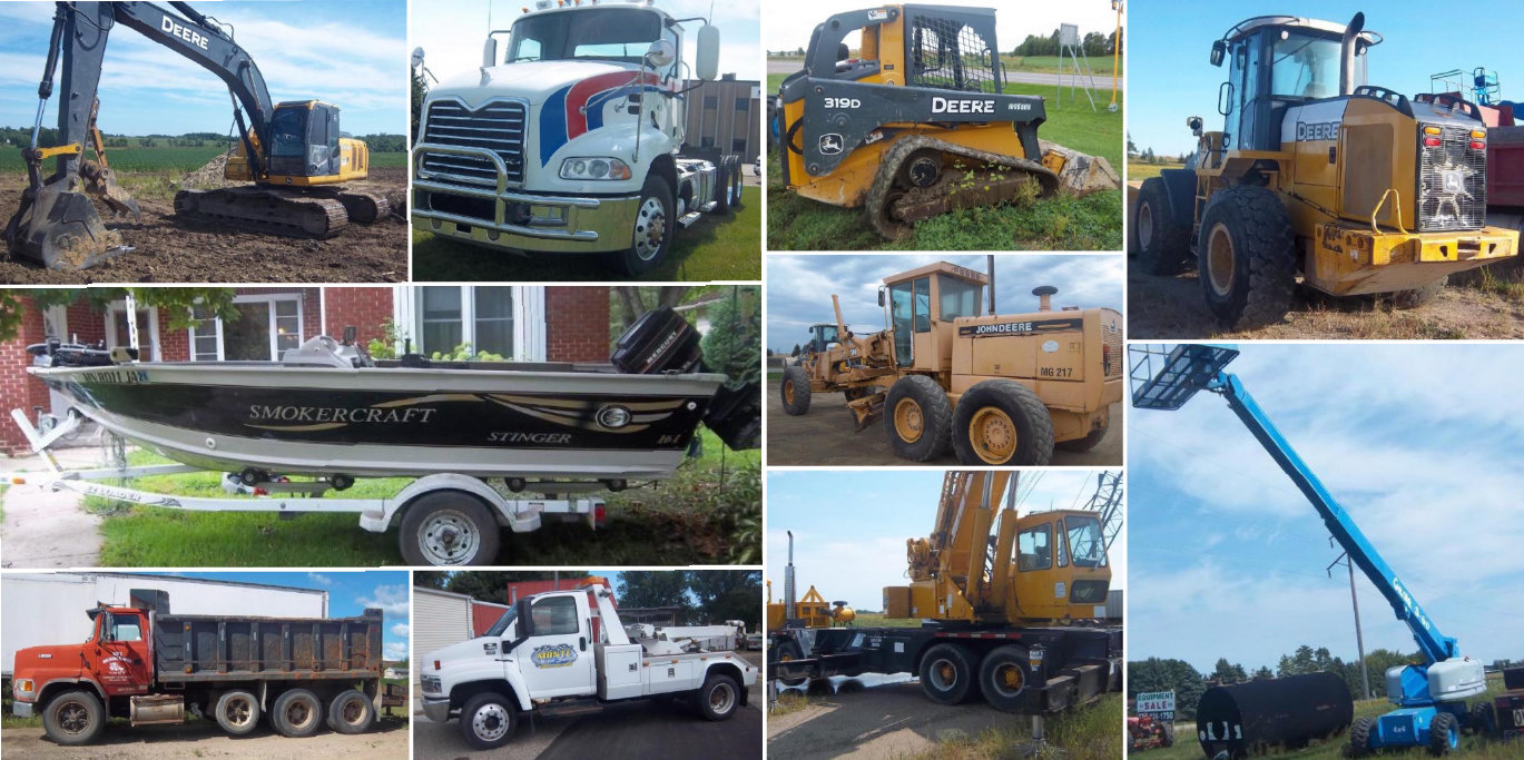 Construction Equipment, Semis, Tanks, Boat
