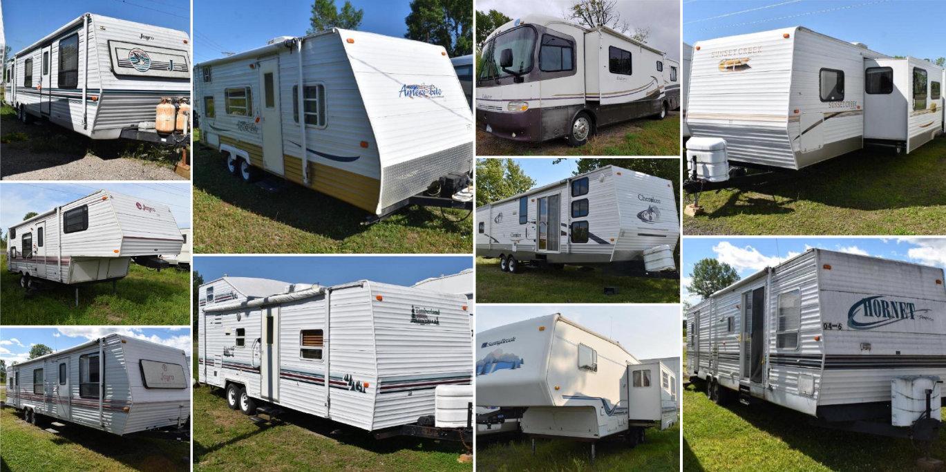 15 Units: (1) Motorhome, (11) Travel Trailers & (3) 5th Wheels