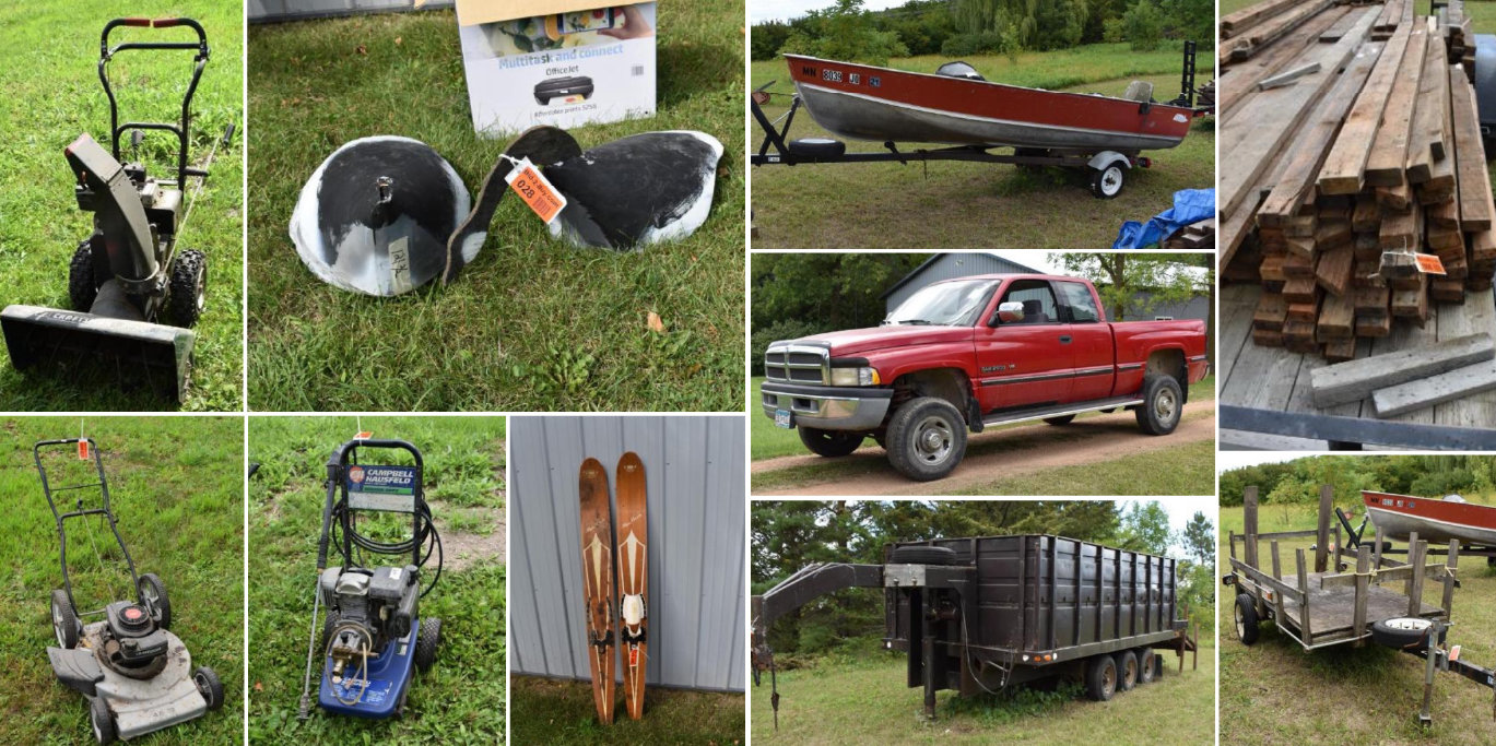 1996 Dodge Ram 2500, Dump Trailer, Lund 16' Boat, Lumber, Lawn & Garden, Shop Supplies, Household