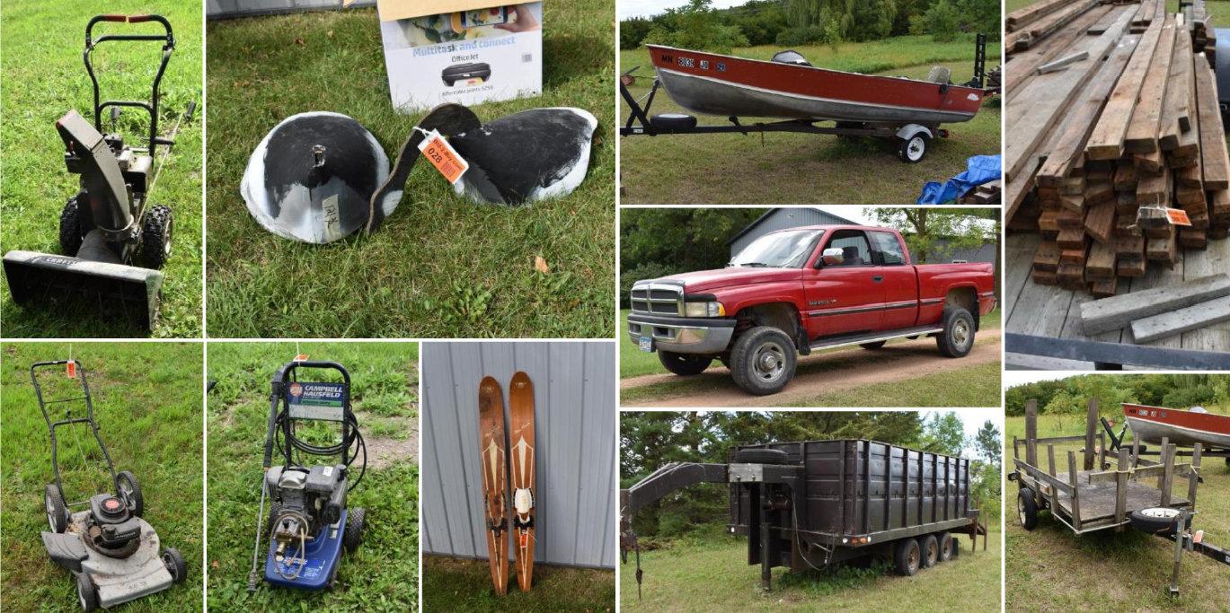 1996 Dodge Ram 2500, Dump Trailer, Lund 16' Boat, Lumber, Lawn & Garden, Shop Supplies, Household