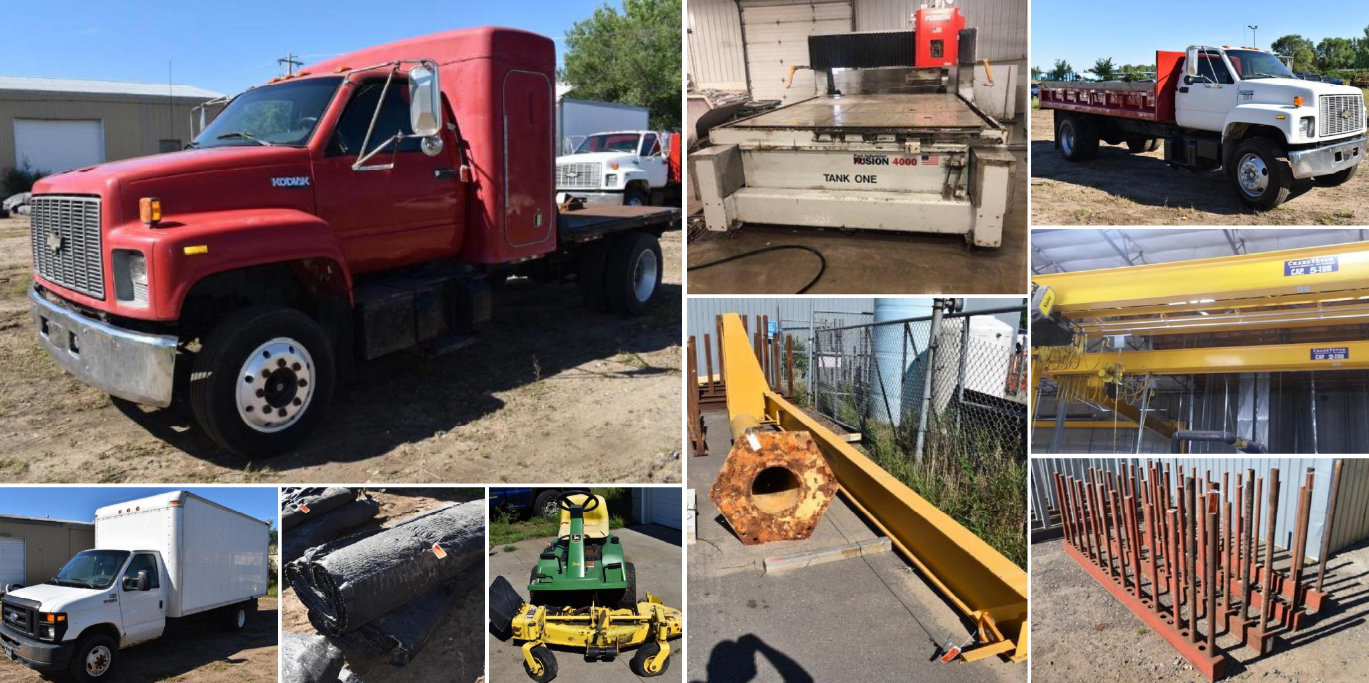 Granite Shop Relocation: Park Industries Saw Jet, Delivery Trucks, Bridge Crane, Slab Racks & Carts