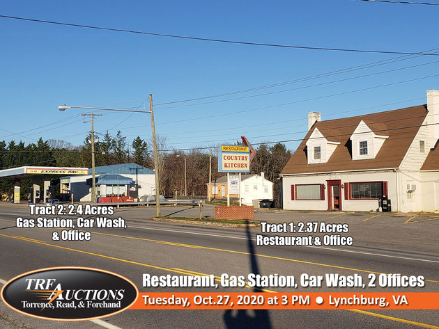 Commercial Properties in Lynchburg: Restaurant, Gas Station, Car Wash, 2 Offices