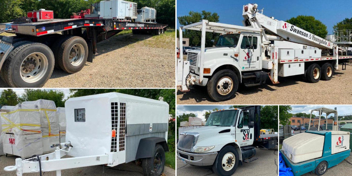 IH 4900 110' Boom Truck, 2000 Freightliner Semi With Cat 3406E 2WS Engine, Talbert 48' Hydraulic Sliding Axle Trailer, 97 Ford Super Duty Dump Truck With 33K Miles, Air Compressor, Tennant Sweeper, IH Flatbed With Liftgate