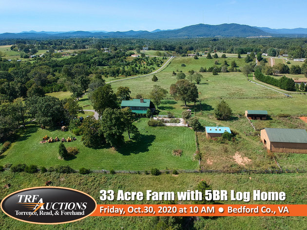 33 Acre Farm with Log Home & 3 Barns