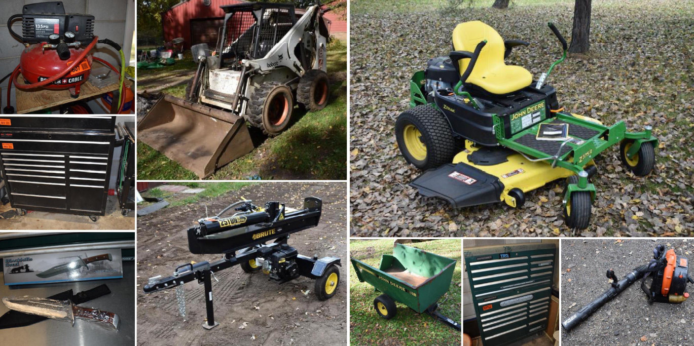 Estate Auction: Bobcat 873 Skid Steer, Brute 25 Ton Log Splitter, Tools & Household