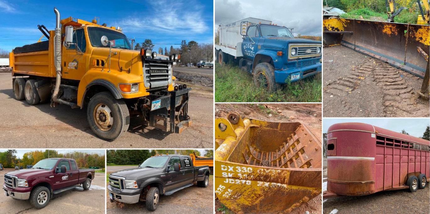 2002 Sterling Dump Truck, 2005 Ford F-350 Extended Cab 4X4, 2005 Ford F-350 With Plow, 18' Horse Trailer & Attachments