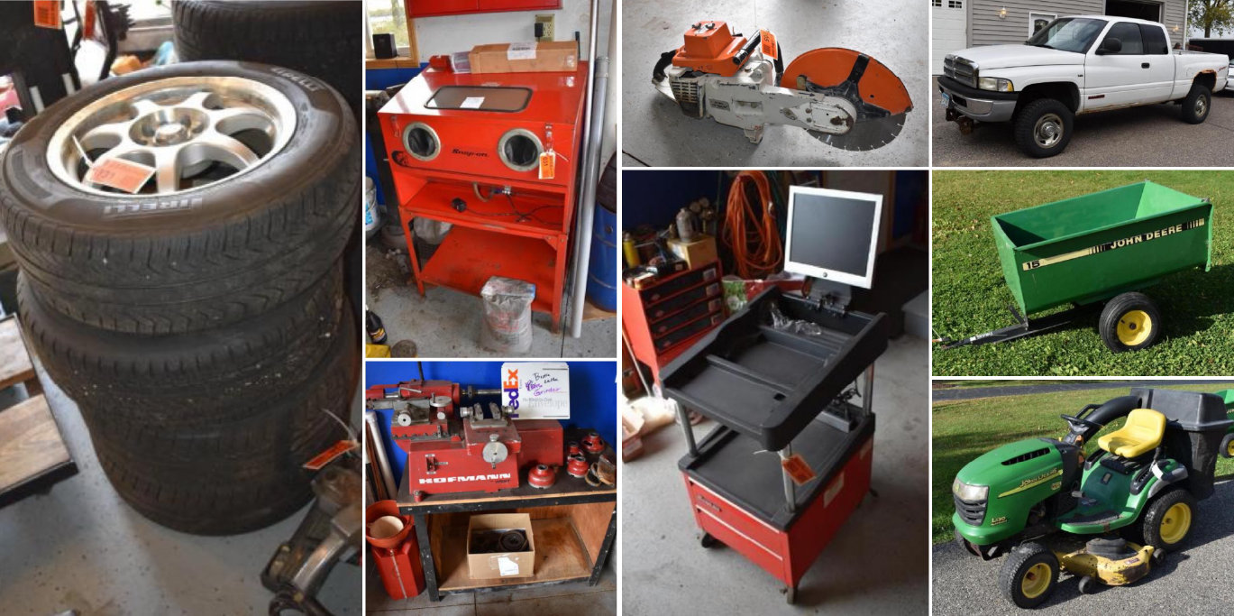 Snap-On Tools and Box, Shop and Engine Rebuilding Equipment, Vehicles, Pontoon & Household