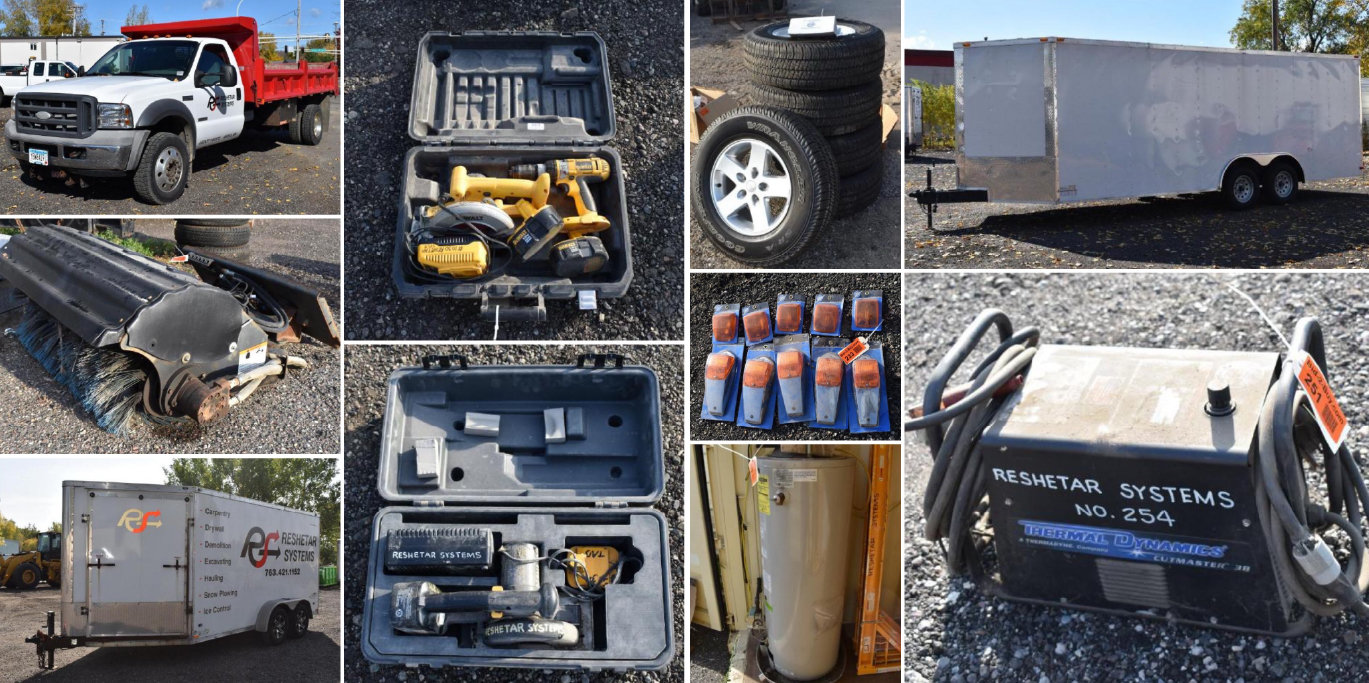 (2) Enclosed Trailers, 2005 Ford F-550, Attachments, Contracting Tools, & Shop Supplies
